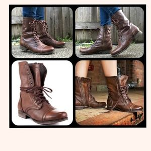 "Steve Madden Leather ""Troopa"" Combat Boots"